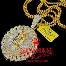 10K Yellow Gold Finish Diamond Jesus Piece Pendant Pave Medallion Charm Chain