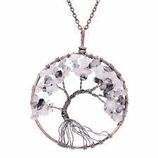 Chakra Gemstone Tree Of Life Pendant Necklace Healing Energy Reiki Ying Yang B&W