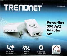 TRENDnet Powerline 500 AV2 Adapter Kit, (2) TPL-408E2K, Gigabit Port NIB
