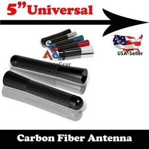 """Universal 5"""" Black Aluminum Carbon Fiber Short AM FM Radio Antenna Screw Car"""
