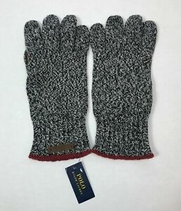Polo Ralph Lauren Men's Black One Size Merino Wool Blend Gloves 11 x 5 inch