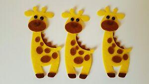 X3 Felt Giraffe Embellishments. Die cuts. Animal  die  cuts