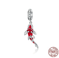 100% 925 Sterling Silver Lucky Fish Pendant Beads Charm pandora