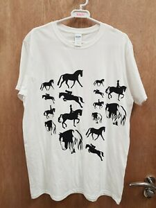 NEW ** WHITE HORSE RIDING PRINT TSHIRT SIZE LARGE LADIES 14-16