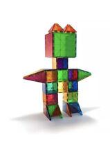 Magna Tiles 100pc Clear Color 3D Magnetic Building Tiles Valtech W/Reusable Bin!