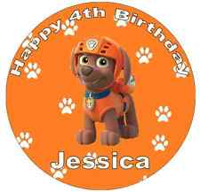 "Paw Patrol Zuma Personalised Wafer Paper Topper 7.5"" For Large Cake Various Size"