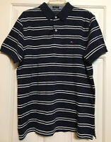 NWT Tommy Hilfiger size L navy white striped short sleeve polo shirt men's