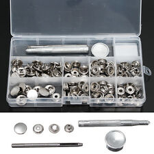 123PCS 15mm Heavy Duty Snap Fastener Popper Press Stud Button+ Fixing Tool Kit