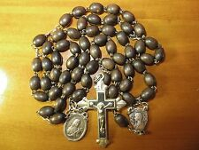Early 1920's Antique Art Deco Brown Wood Beads Rosary-St Therese Silver Medal