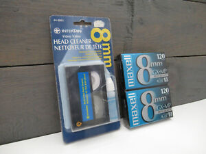 NEW Intertan 8mm Head Cleaner With 2 Blank Maxell 120 GX-MP Videotapes
