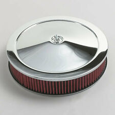 "Chrome Air Cleaner Washable Red Filter 14"" Chevy 55-82 Fits Quadrajet Carburetor"