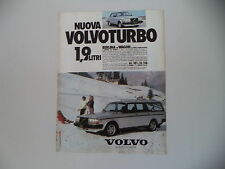 advertising Pubblicità 1982 VOLVO BERLINA/WAGON