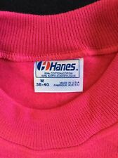Vtg 80s Hanes Plain Pink Raglan Sweatshirt M Blank Crewneck 50/50 Cotton Acrylic