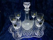Vintage Bohemia Crystal Tray with Decanter and 6 Glasses