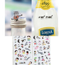 6 Sheets/lot Cartoon PVC Paper Stickers Red Hat Girl Cat Rabbit for Kids AU