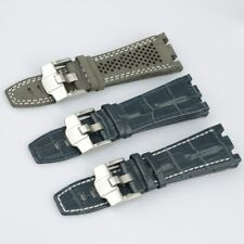 28mm Blue Grey Leather Wrist Watch Band Strap For AP 42mm Royal Oak Offshore