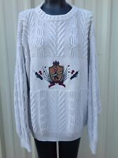 Grand Slam Sweater Cable Knit Golf Beige Cotton Mens XL