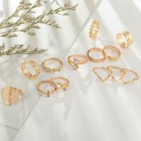 13Pcs/Set Boho Punk Gold Midi Finger Ring Vintage Crystal Knuckle Rings