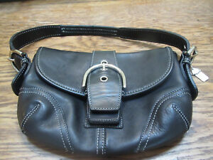 Coach 6042 black leather, snap enclosure buckle style hand bag w original tag-ex