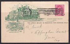 Canada - 1902 - 1c - Post Card - Hotel Vancouver - CPR Statement - Montreal