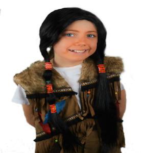 Native Red Indian Girl's Long Black Fancy Dress Wig .