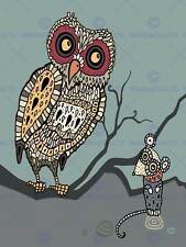 PAINTING NATURE ANIMALS BIRDS OWL MOUSE MOSAIC DESIGN BRANCH POSTER BMP11095