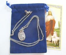 St. Augustine & St. Monica Saint Medal With 24 In Necklace