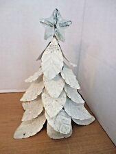 "Unusual White Glittery Christmas Tree 9"" Metal Tree Topper"