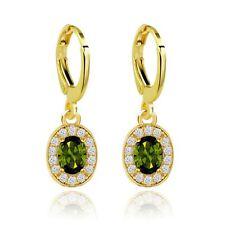 Elegant Gold with Green Zircons Oval Hoops Drop Earrings E799