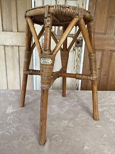 Vintage Angraves Bamboo Stool Tiki Boho Plant Stand