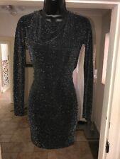 LIPSY BLACK LUREX DRESS SIZE UK 8