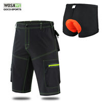 Mens MTB Baggy Cycling Shorts Bike Bicycle Knicks Padded Inner Removable Pants