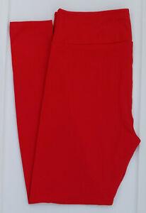 TC LuLaRoe Tall & Curvy Leggings Solid Bright True Red NWT 07