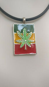 Marijuana WEED LEAF RASTA Charm NECKLACE CHOKER