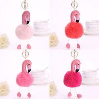 Flamingo Keychain Fluffy Faux Rabbit Ball Key Chain Women Car Bag Key Ring JR8Y