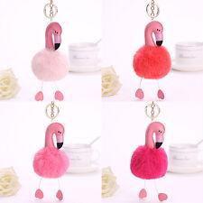 Flamingo Schlüsselanhänger FluffyFaux KaninchenfellBall Schlüsselanhänger-Tas Vm