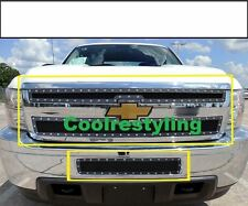Fit Chevy Silverado HD 2500/3500 2011-2014 Black Mesh Rivet Grille 3pc Combo