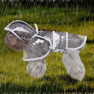 Pet Dog Rain Coat Jacket Transparent Waterproof Hoodie Clothes Raincoat Rainwear