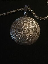 Sterling Silver Mexico Mayan Calendar Pendant TC-106 FAS 925 Italy Rope Chain