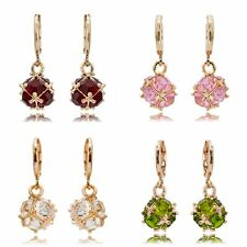 1 Pair Multi Color Crystal Rhinestone Inlaid 18K Gold Plated Dangle Hoop Earring