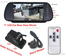 "Car Reverse Parking Camera + Radar Sensor System & 7"" Rear View Mirror Monitor"
