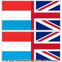 LUXEMBURG-UK Britische Union Jack Flagge, Fahne Aufkleber, Vinyl Sticker 75mm x2