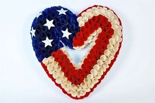 """America Heart shaped Wall Hanging 13.5"""" Wood Florettes Beautiful New 4th Of July"""