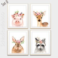 Set of 4 Woodland Animal Watercolor Art Prints -Forest Animall Wall Decor #Set D