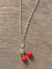 Summer Cherries Fruit Dainty Necklace Quirky Rockabilly