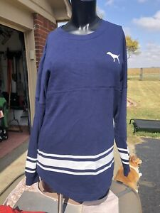 Womens Small Victorias Secret PINK Pullover Sweater Blue White Color Super Nice