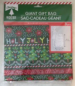 New! Christmas House Giant Gift Bag Giant Gift Sack w/ Tag & Ribbon - Christmas