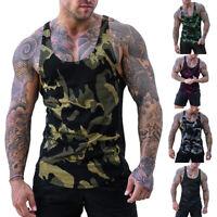 Men Sleeveless T-Shirt Vest Top Camouflage 3D Printing Vest Bodybuilding Summer
