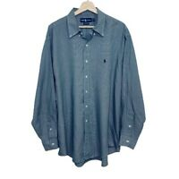 Ralph Lauren Shirt Men Size XL Button-up Long Sleeves Houndstooth Plaid Yarmouth