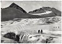 Cartolina Adamello (Vedretta del Mandrone), sciatori - Brescia, 1957